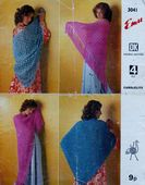 Digital Download PDF Vintage Crochet/Knitting Pattern Ladies Women'sShawls 4 ply & DK